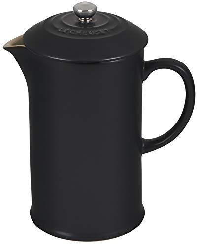 Le Creuset Kaffee-Bereiter/French Press mit Edelstahl-Presseinsatz, 1L, Steinzeug, Schwarz
