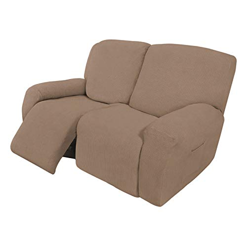Easy-Going 6 Pieces Recliner Loveseat Stretch Sofa Slipcover Sofa Cover Furniture Protector Couch Soft with Elastic Bottom Kids, Spandex Jacquard Fabric Small Checks Camel