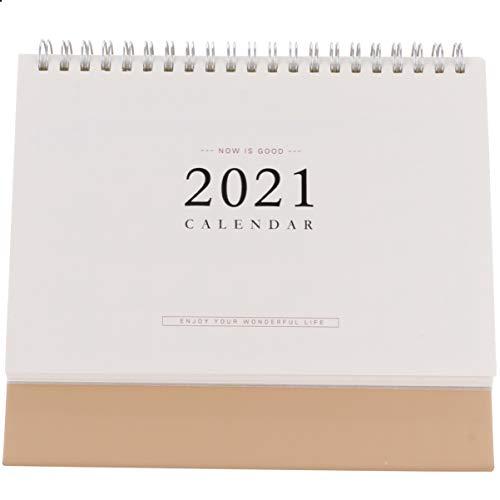 Tomaibaby Calendario de Escritorio 2021 Calendario Mensual con Tapa de Pie sobre Caballete Calendario de Pared Mini Calendario de Bobina para El Programador Diario Decoración de La Oficina