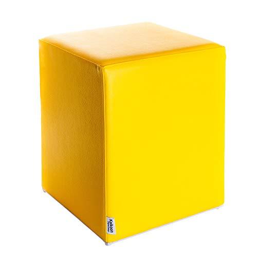 Pouf cube jaune dimensions : 35 cm x 35 cm x 42 cm