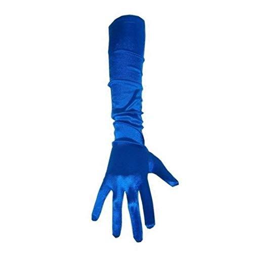 PartyXplosion Damen Handschuhe Elegante ca. 48-52 cm lange Satin Handschuhe Karneval, Blau, One Size (Einheitsgröße)
