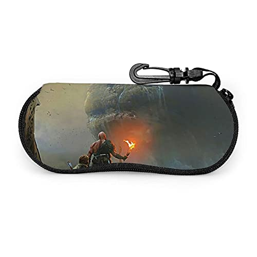 zhufeifan God Of War Fundas de Gafas Estuche blando para gafas de sol Estuche para gafas de neopreno ultraligero con cierre de cremallera y clip para cinturón