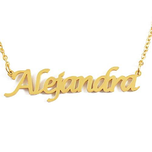 Kigu Alejandra Collar con Nombre - Chapado en Oro Personalizado de 18 Quilates - Cadena Ajustable