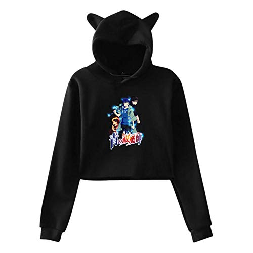 Blue Exorcist Cat Ear Hoodie Sweater, Stylish, Comfortable, Sexy Hoodie Black
