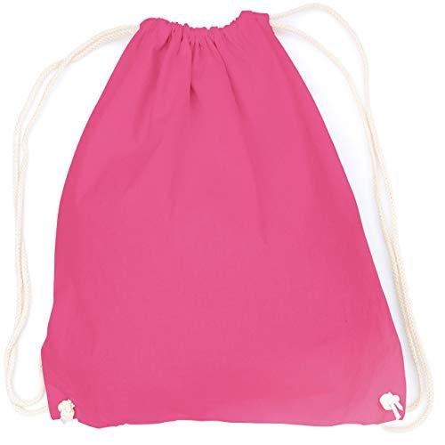 vanVerden - Turnbeutel aus Baumwolle - Pink blanko/unbedruckt - Pinker Stoff-Beutel mit Kordelzug Verschluss