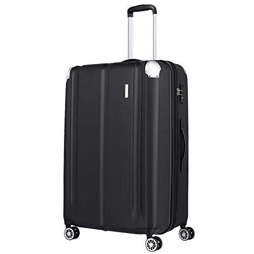 Travelite City 4-Rollen-Trolley erw. L 77 cm black/alu ecken
