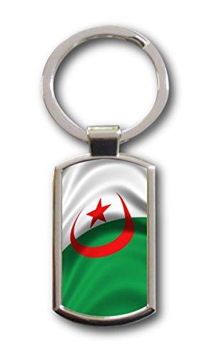 Schlüsselanhänger mit Gravur Wunschtext Name Algerien Fahne