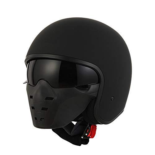 SJAPEX Motorradhelm Jethelm Motorrad Halber Helm, Open Face Helmet mit Abnehmbar Brille und Maske für die Vier Jahreszeiten Kopfumfang, ECE Genehmigt