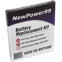 Battery Kit for The Barnes and Noble Nook HD 7 BNTV400 Tablet with Tools, Video Instructions and Extended Life Battery from NewPower99
