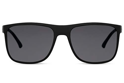 Cheapass Gafas de Sol Deportivas Rectangular Goma Montura Negra con Lentes Oscuras para Hombres UV400 protegidas