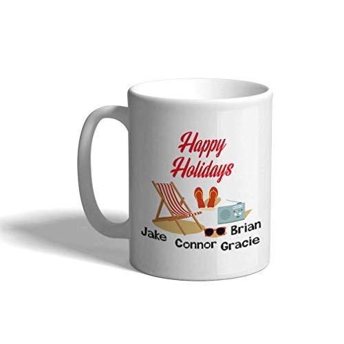 Taza de café personalizada de cerámica 11 onzas Gafas de sol de playa Felices vacaciones Pascua Taza de té blanca Pascua