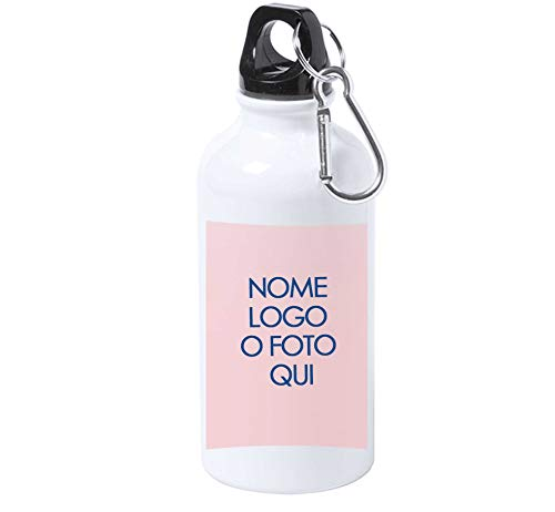 Cantimplora personalizada con nombre de foto, frases o logotipo, de aluminio, para niña, niño, deporte, escuela, 500 ml