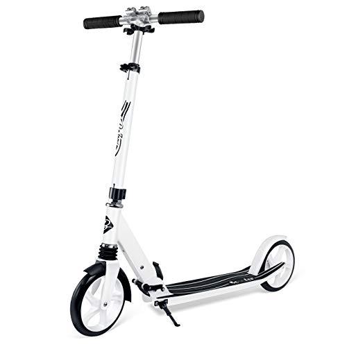 BELEEV Roller Erwachsene, Tretroller Kick Scooter mit 2 Rädern, Cityroller mit Federung, Schnellverschluss Klappbar System, 4 Höhenverstellbare, 200mm Große Räder Roller für Kinder Jugendliche (Weiß)