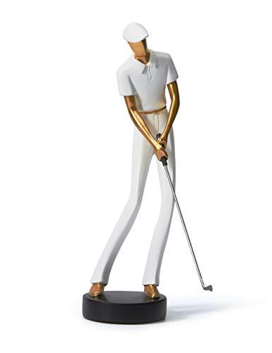 Amoy-Art Skulptur Figur Golf Genius Statue Art Golfspieler Dekor für Haus Geschenk Andenken Giftbox Resin Weiß 24cmH
