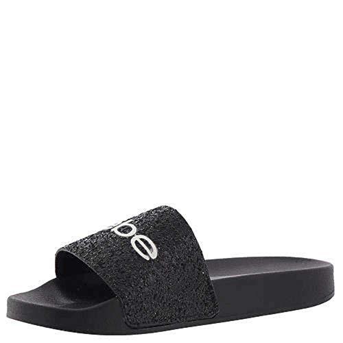 Bebe Women's FRAIDA Slide Sandal, black, 8 Medium US