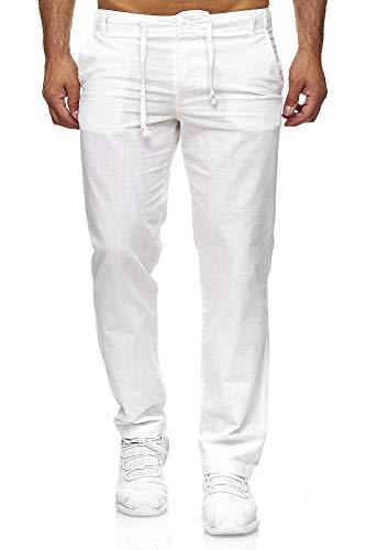 Reslad Leinenhose Männer Chino Herren-Hose lockere Sommer Stoffhose Freizeithose aus bequemer Baumwolle lang RS-3000 Weiß XL