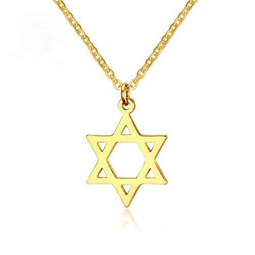 AILUOR 18K plaqué or Megan étoile de David pendentif colliers, six pointes Megan Star juif israël bijoux pour femmes / hommes bijoux Hip Hop (Or)