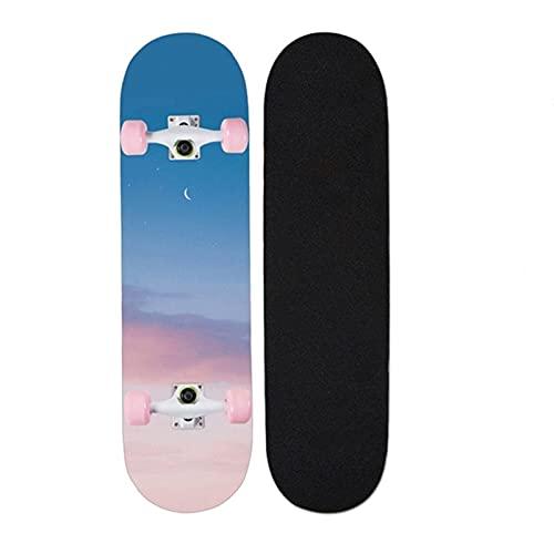 """Skateboards, 31 """"X8"""" Monopatín completo para niños adolescentes y adultos, 7 capas Canadiense Maple Wood Doble patada cubierta Concave Standard and Tricks Skateboard para niños y niñas ( Color : P )"""