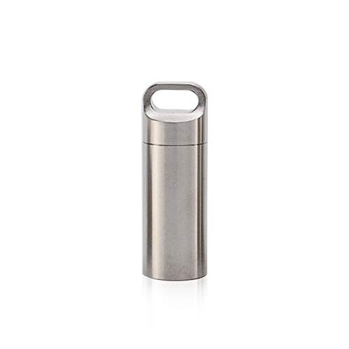 Keychain Container Pocket Pill Case,Waterproof Medicine Tank Keyring Capsule Seal Bottle Stainless Steel Capsule Case Ill Box Pill Keychain for Outdoor Travel Camping First Aid,Sealing
