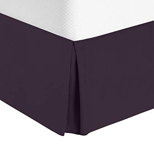 Nestl Bedding Bed Skirt - Soft Double Brushed Premium Microfiber Dust Ruffle - Luxury Pleated Dust Ruffle, Hotel Quality Sleek Modern Bed Skirt, Easy Fit with 14 in Tailored Drop, Queen, Eggplant