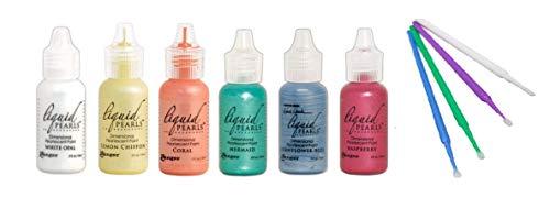 Ranger Liquid Pearls Bundle - 6 Liquid Pearls with PTP Flash Deals Blending Sticks (Paradise: White Opal, Lemon Chiffon, Mermaid, Cornflower Blue, Raspberry, Coral)