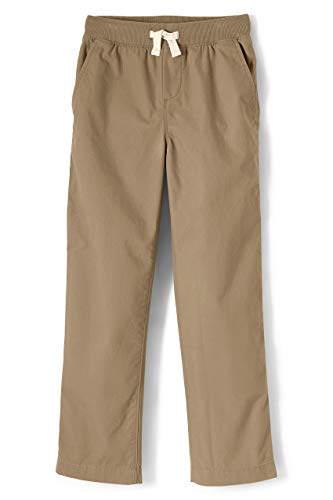 Lands' End Boys Iron Knee Pull On Plain Front Pant Light Beige Little Kid Small