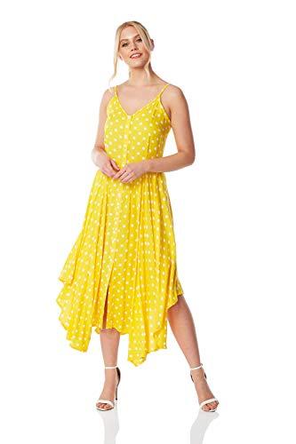 Roman Originals dames midi-jurk met stippen en zipfelzoom - dames, zomer, vakantie, strand, casual, alledag, grillparty, V-hals, bandjes, fit-and flare