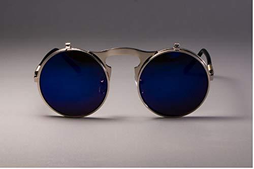 ZJMIYJ Sonnenbrillen Retro Runde Flip Sonnenbrille Männer Frauen Metall Zwei Paar Kontaktlinsen Brillen Farben UV400 Navy Blue