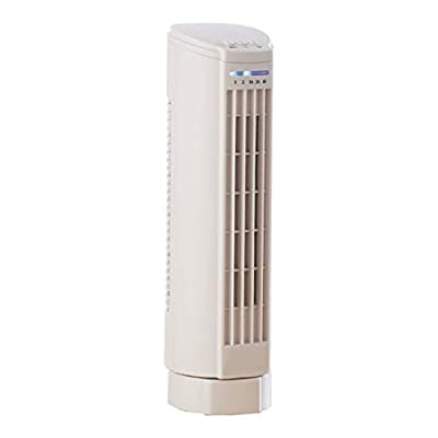 Daewoo ES198 1117 15-Inch Mini Tower Fan, Oscillating, 2 Speeds, Up-to-7 Hour Timer, Touch Switch, Portable Sleek Design-White, Plastic