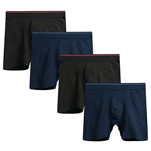 Nuofengkudu Herren 4er Pack Boxershorts Langes Bein Baumwolle Elasthan Weich Seamless Sport Atmungsaktive Boxer Shorts Innenslip Unterwäsche (2 Schwarz/2 Marineblau) Größe L Taille 76-83CM