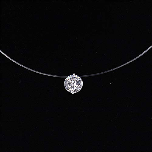 JMZDAW Halskette Anhänger Frauen Transparente Angelschnur Halskette Silber Unsichtbare Kette Halskette Anhänger Strass Halskette Halskette, 8 cm Zirkon