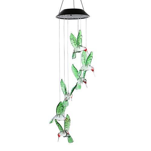 Winbang Carillones de viento, cambio de color LED Carillón de viento solar Cambio de color de luz Seis colibríes Campana de viento Cambio gradual de varios colores