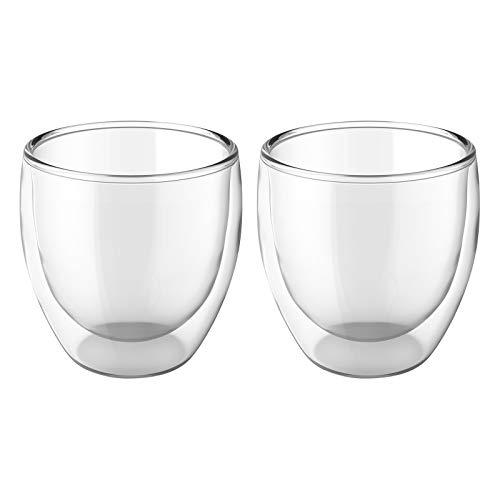 ShawFly Paquete de 2 tazas de vidrio de café con doble aislamiento,...