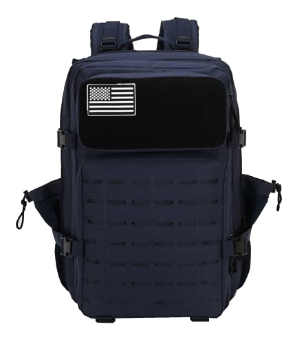 ELITEX Zaino tattico militare 45 l 2021 bandiera USA impermeabile per crossfit caccia aria aperta sport palestra portatile Oxford 900D, blu,