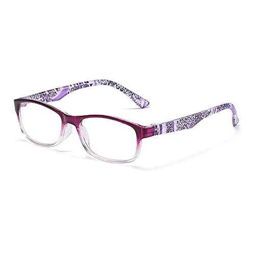 TEYUN Mujeres Clara de Lectura Gafas Flor Impresas espectáculos Anti Azul Rayo Unisex Gafas +1.0 +1.5 +2.0 +2.5 +3.0 +3.5 +4.0 2020 (Color : Purple)