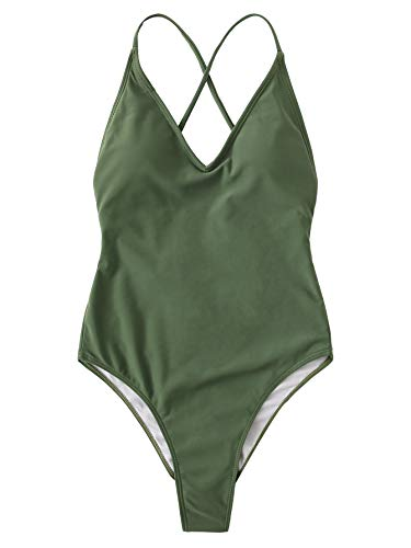 SOLY HUX Women's Sexy Plunge Neck Cross Back High Cut One Piece Bathing Suits Swimsuit Dark Green Large