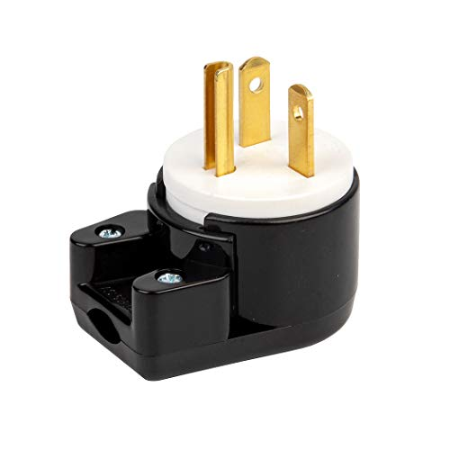 90 Degree Right Angle Nema 5-20P 20A 125V T-Blade DIY Household Plug, Easy Assembly 20Amp 125Volt USA Canada 3-Prong Male Angled 20A Plug, 12-Directions Rotatable Connector, UL Listed LK7520PT