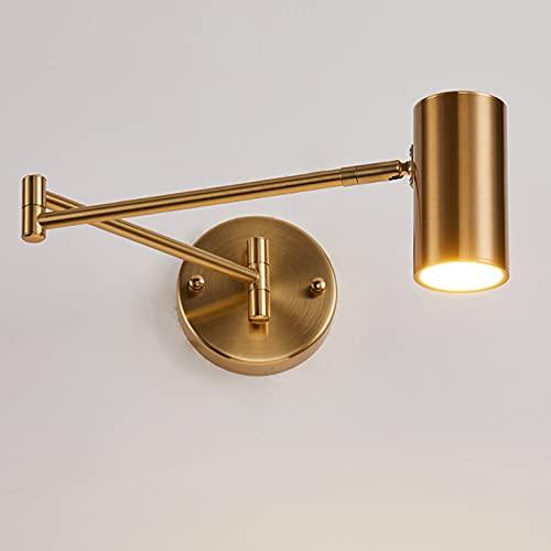 Enlylyog Lámpara de Pared de Moda Lámpara de Noche para Dormitorio Negro Oro Nórdico Moderno Minimalista Creatividad con balancín Retráctil Plegable Viento Industrial Lámpara de Pared de Poste Largo
