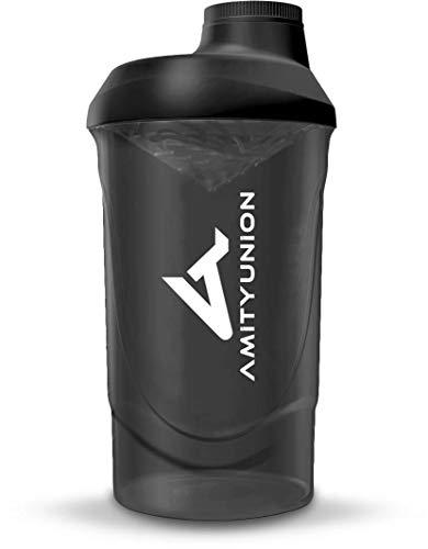 AMITYUNION Protein Shaker Smoke Deluxe 800 ml - Eiweiß Shaker auslaufsicher - BPA frei mit Sieb & Skala für Cremige Whey Proteinpulver Shakes - Gym Fitness Becher für Isolate und Sport Konzentrate