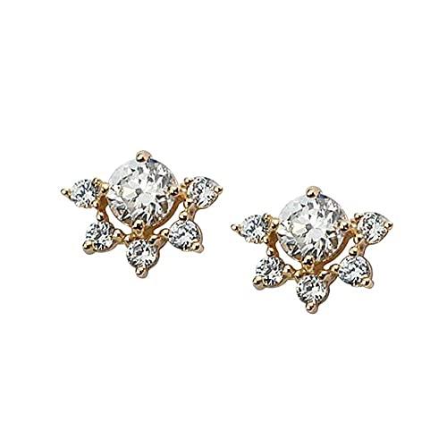 Pendientes de tuerca de cristal de pavé de oro para mujer