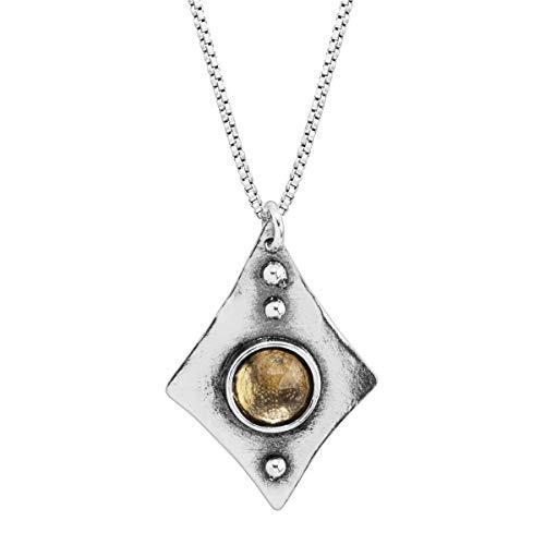 Silpada 'Cádiz' Natural Citrine Diamond-Shaped Pendant Necklace in Sterling Silver, 18' + 2'
