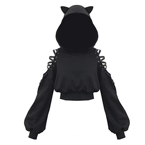 shangji Frauen Hoodies Langarm Cute Ear Cat Off Shoulder Crop Top Pullover Sweatshirt (S)