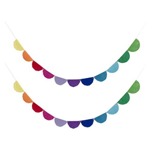 Toyandona - Pancarta de fieltro de colores (2 unidades), diseño de arcoíris para fiesta de cumpleaños o decoración de habitación (Semicircle)