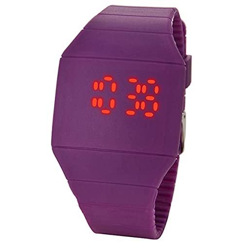 Reloj digital LED Reloj electrónico Estudiantes Reloj deportivo de ocio Indicador de 24 horas Reloj de pantalla cuadrada LED - Púrpura