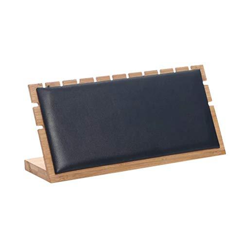 TOPBATHY - Collar de bambú con expositor de estantería, tamaño L, color blanco, negro, 24.5x7x12cm