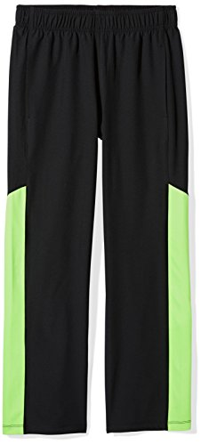 Amazon Essentials Kids Boys Active Performance Stretch Woven Pants, Black/Lime, X-Small