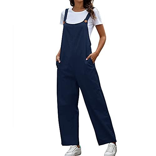Mabor - Tuta estiva casual da donna, con tasche, con bottoni, senza maniche, con tasca