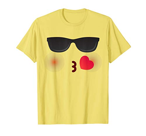Halloween Emojis Kostüm Kiss Smiley Kuss mit Sonnenbrille T-Shirt