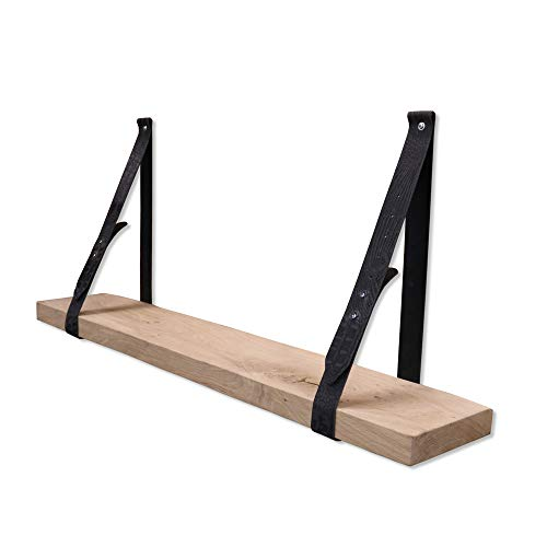 Steigerhoutpassie - Leren plankdrager - Verstelbaar - Croco Print - Set - Eiken Rustiek - 100cm