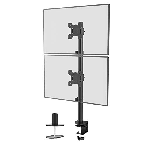 WALI Dual Monitor Desk Mount Stand for LCD LED Flat Screen TV Holds in Vertical Position 2 Screens...